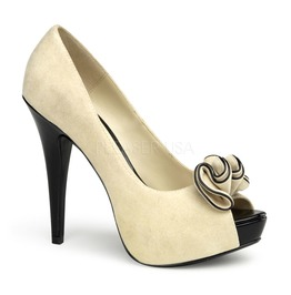 Pin Up Couture Lolita Beige Suede Pu Platform Pump