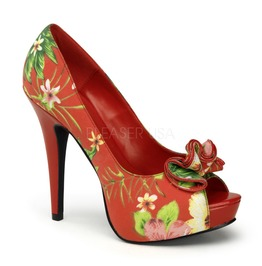 Pin Up Couture Lolita Floral Print Fabric Platform Pump Red And Black