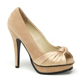 Pin Up Couture Pleasure Champagne Sueded Pu Satin Platform Pump