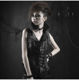 Ladies Diesel Punk Faux Leather Vest Gothic Faux Leather Visual Kei Top