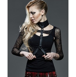 Ladies Black Spider Web Harness Long Sleeve Gothic Shirt Fetish Mesh Top