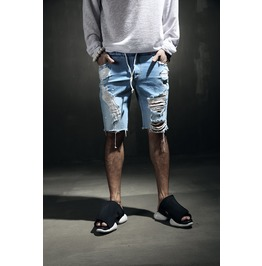Men's Hard Damage Bending Denim Shorts