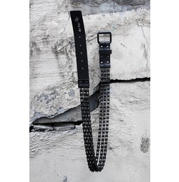Men's Fashion Leather Metal Black Chain Free Size Belt