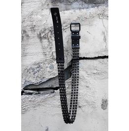 Men's Fashion Leather Metal Black Chain Free Size Belt