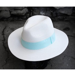 Mens' Pastel Ribbon Panama Straw Fedora Trendy In Style