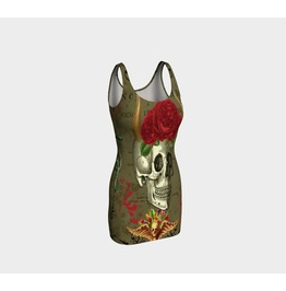 Funky Skull Head With Horns & Vintage Red Roses Bodycon Dress
