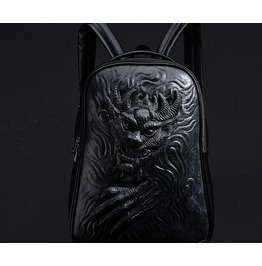 Men's Black Stylish Bag Demon Embossing Backpack Faux Leather