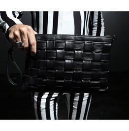 Men's Fashion Black Faux Leather 8376 Grid Pattern Clutch Bags