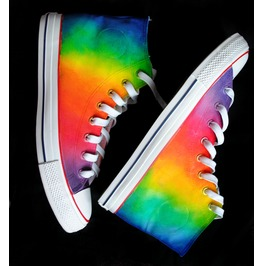 Handpainted Rainbow Shoes, Rainbow Personalized Sneakers