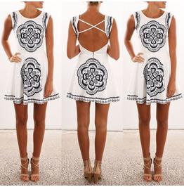Summer Casual Sleeveless Evening Party Beach Dress Short Dress