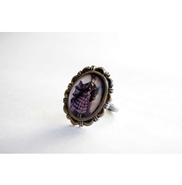 Victorian Bat Lady Cameo Ring
