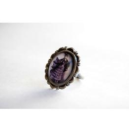 Victorian Bat Lady Cameo Ring