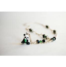 Handmade Tiny Panda Bear Charm Necklace