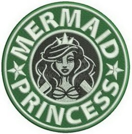 Embroidered Faux Starbucks Mermaid Princess Coffee Patch Sew On Style