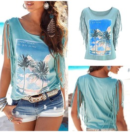 Summer Loose Top Tassel Sleeve Blouse Ladies Casual Tops T Shirt