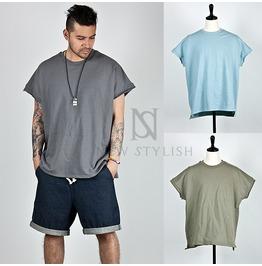 Distressed Hem Accent Zurry Fabric Round T Shirts 539