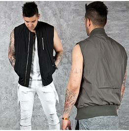 Neat Banded Bottom Hem Zip Up Vest 72