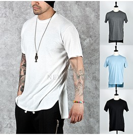 Unbalance Hem Basic Cotton Round T Shirts 541