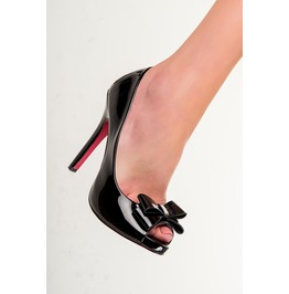 Banned Apparel Black Doris Ribbon Open Toe Shoes