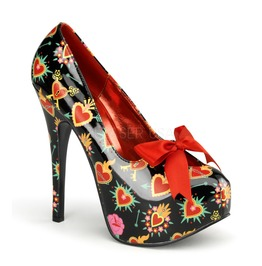 Pin Up Couture Teeze Black Patent Platform Pump With Sacred Heart Print