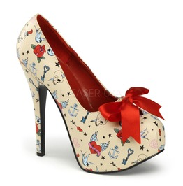 Pin Up Couture Teeze Cream Pu Platform Pump With Tattoo Print