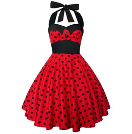 Rockabilly Pin Up Red Black Polka Dot Dress Gothic 50s Christmas Party