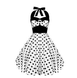 Rockabilly Pin Up White Black Polka Dot Dress Gothic 50s Swing Retro Party