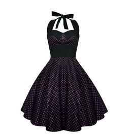 Rockabilly Pin Up Black Pink Polka Dot Dress Gothic 50s Swing Retro Party