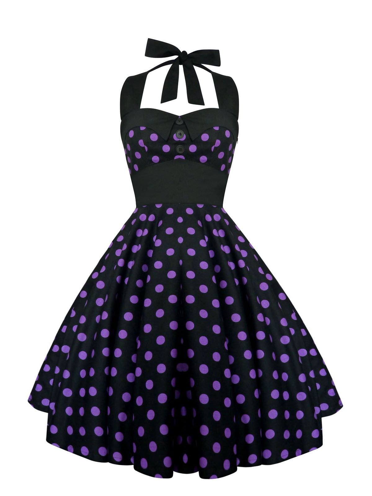 Rockabilly Pin Up Black Purple Polka Dot Dress Gothic 50s Swing Retro