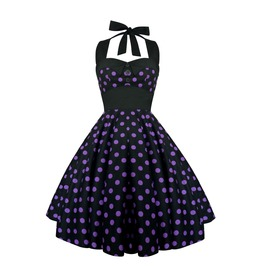 Rockabilly Pin Up Black Purple Polka Dot Dress Gothic 50s Swing Retro Party