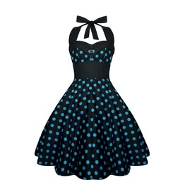 Rockabilly Pin Up Black Blue Polka Dot Dress Gothic 50s Swing Retro Party