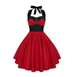 Rockabilly Pin Up Red Mini Black Polka Dot Dress Gothic 50s Christmas Party