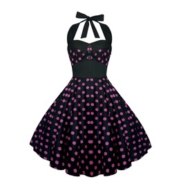 Rockabilly Pin Up Black Pink Polka Dot Dress Gothic Halloween Retro Party