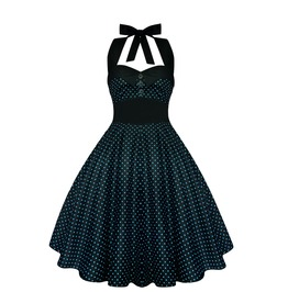 Rockabilly Pin Up Black Blue Polka Dot Dress Gothic Halloween Retro Party