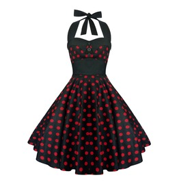 Rockabilly Pin Up Black Red Polka Dot Dress Gothic Halloween Retro Party