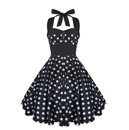 Rockabilly Pin Up Black White Polka Dot Dress Gothic Halloween Retro Party