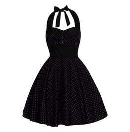 Rockabilly Pin Up Black Purple Polka Dot Dress Gothic Halloween Retro Party