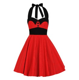 Rockabilly Pin Up Red Christmas Polka Dot Dress Disney Minnie Mouse Mickey