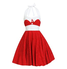 Rockabilly Pin Up Red White Polka Dot Dress Minnie Mouse Mickey Christmas