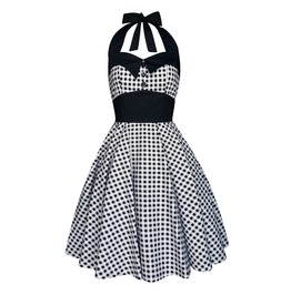 Rockabilly Pin Up Black Gingham Vichy Dress Gothic Halloween Retro Party