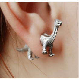 Three Dimensional Animal Dinosaur Earrings Piercing Earrings Black