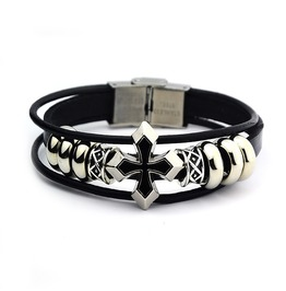 Vintage Cross Multi Strands Leather Bracelet