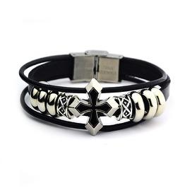 Vintage Cross Multi Strands Leather Bracelet