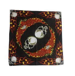 Red Flame Skull Print Scarf
