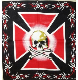 Red Cross Skull Print Scarf
