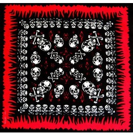 Red Flame Border Skull Print Scarf