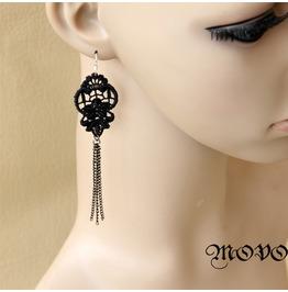 Handmade Black Lace Tassels Gothic Earring Er 3