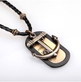 Vintage Anchor Tag Pendant Necklace