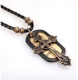 Vintage Cross Tag Pendant Necklace