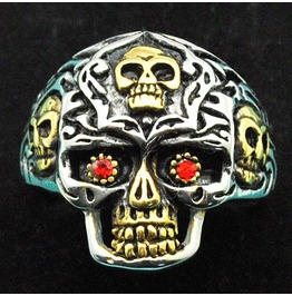 Vintage Steampunk Red Eye Skull Ring